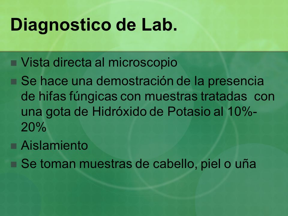 Diagnostico de Lab. Vista directa al microscopio