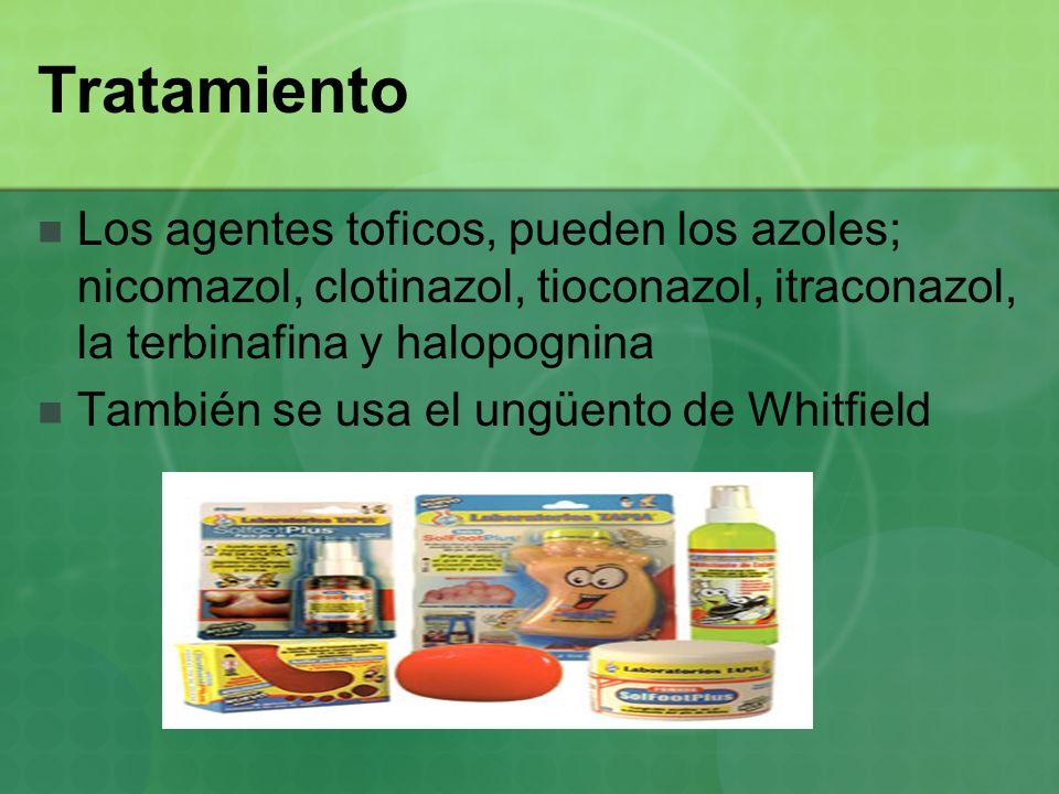 Tratamiento Los agentes toficos, pueden los azoles; nicomazol, clotinazol, tioconazol, itraconazol, la terbinafina y halopognina.