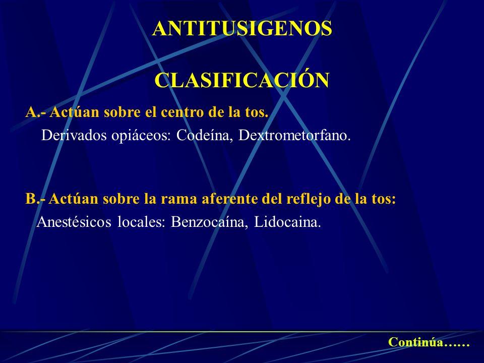ANTITUSIGENOS CLASIFICACIÓN