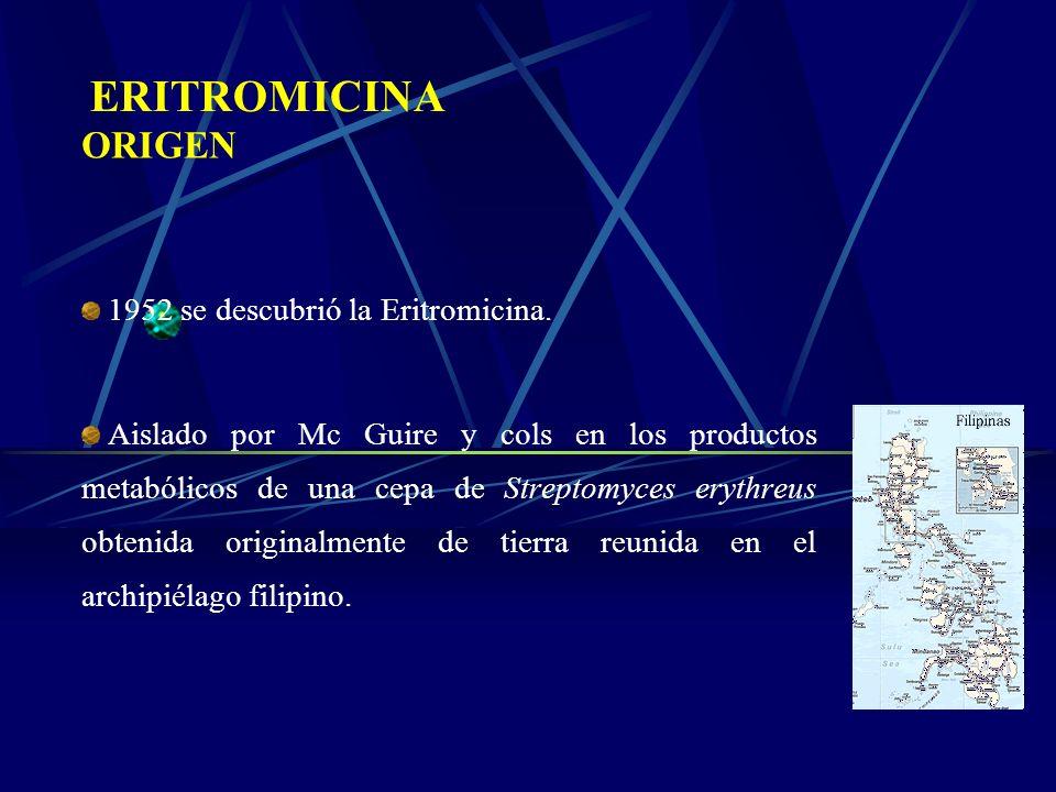 ERITROMICINA ORIGEN 1952 se descubrió la Eritromicina.