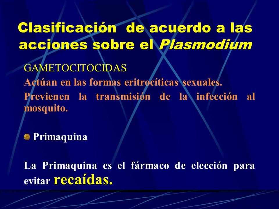 Clasificación de acuerdo a las acciones sobre el Plasmodium