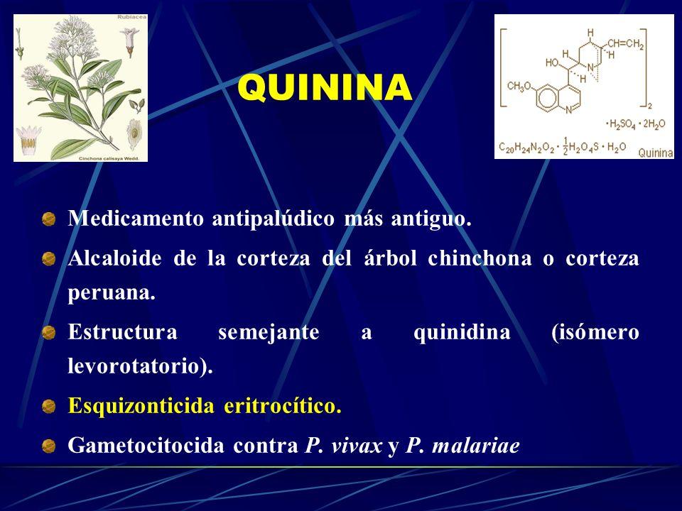 QUININA Medicamento antipalúdico más antiguo.