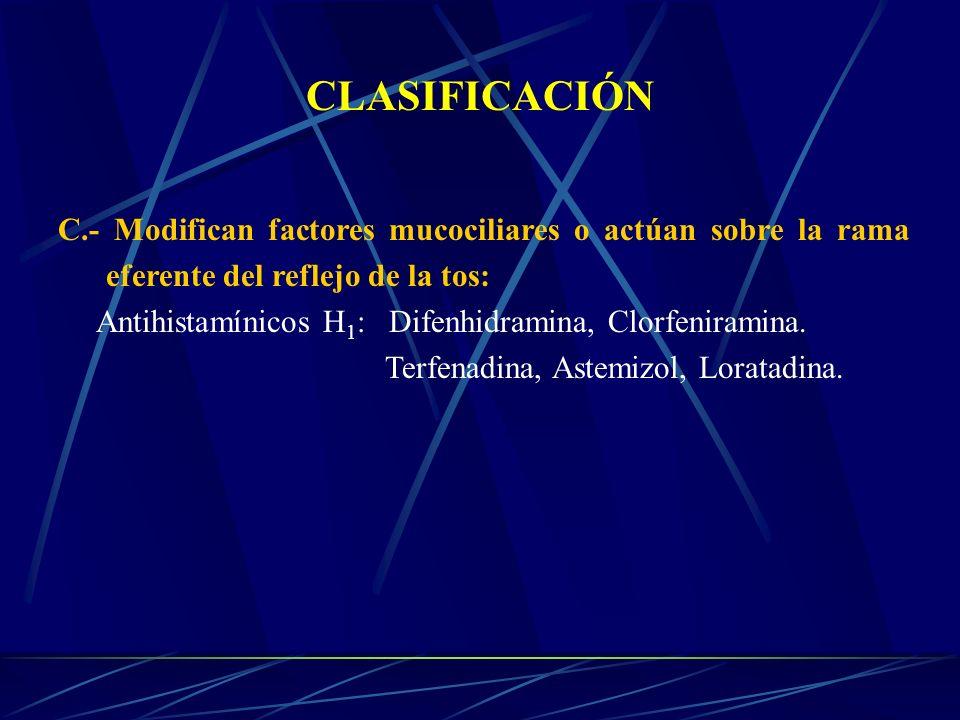 CLASIFICACIÓNC.- Modifican factores mucociliares o actúan sobre la rama eferente del reflejo de la tos: