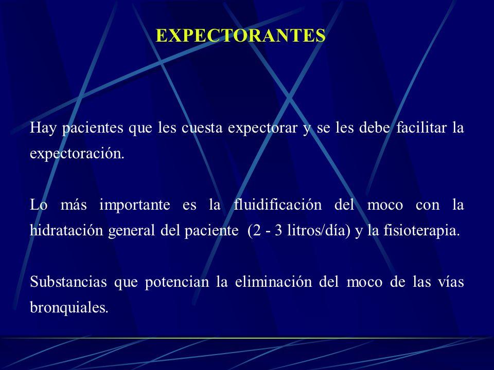 EXPECTORANTESHay pacientes que les cuesta expectorar y se les debe facilitar la expectoración.