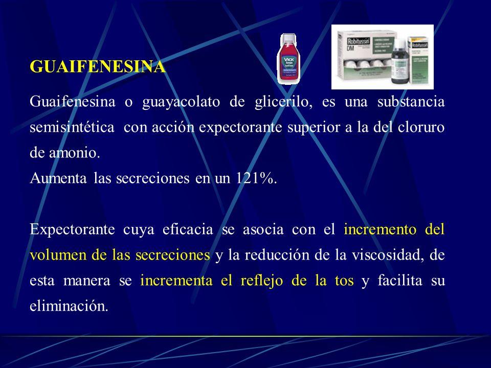 GUAIFENESINAGuaifenesina o guayacolato de glicerilo, es una substancia semisintética con acción expectorante superior a la del cloruro de amonio.