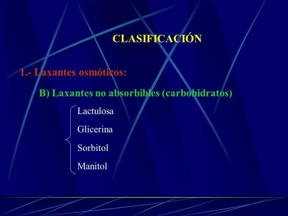 CLASIFICACIÓN 1.- Laxantes osmóticos: