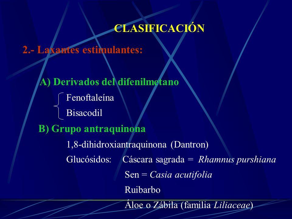 CLASIFICACIÓN 2.- Laxantes estimulantes: B) Grupo antraquinona
