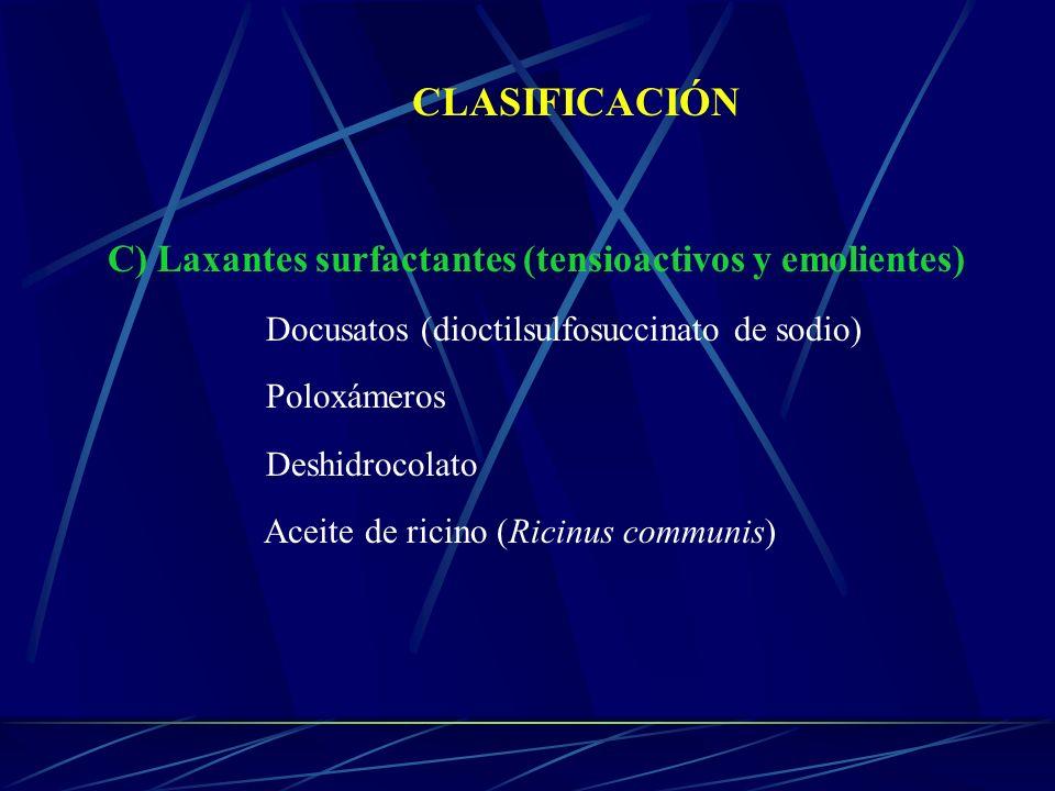 CLASIFICACIÓN C) Laxantes surfactantes (tensioactivos y emolientes)