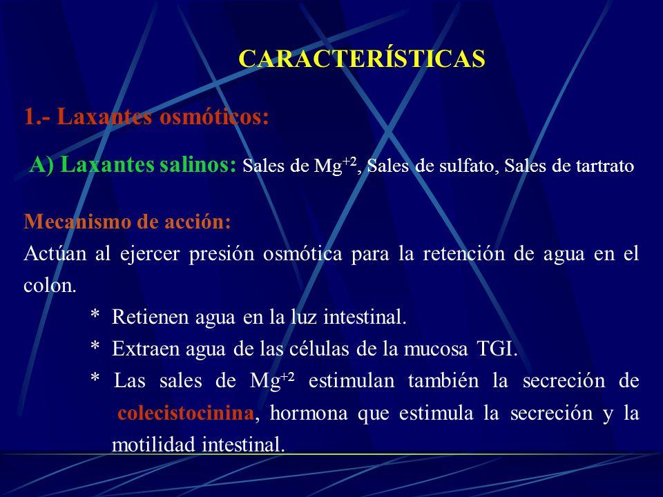 CARACTERÍSTICAS 1.- Laxantes osmóticos: