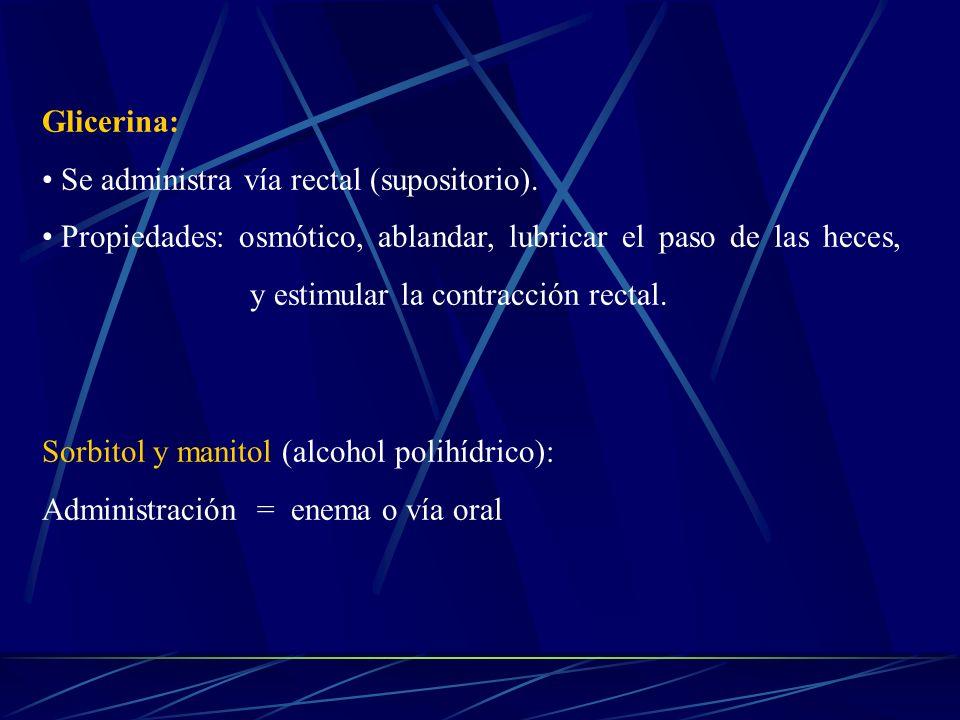 Glicerina:Se administra vía rectal (supositorio).