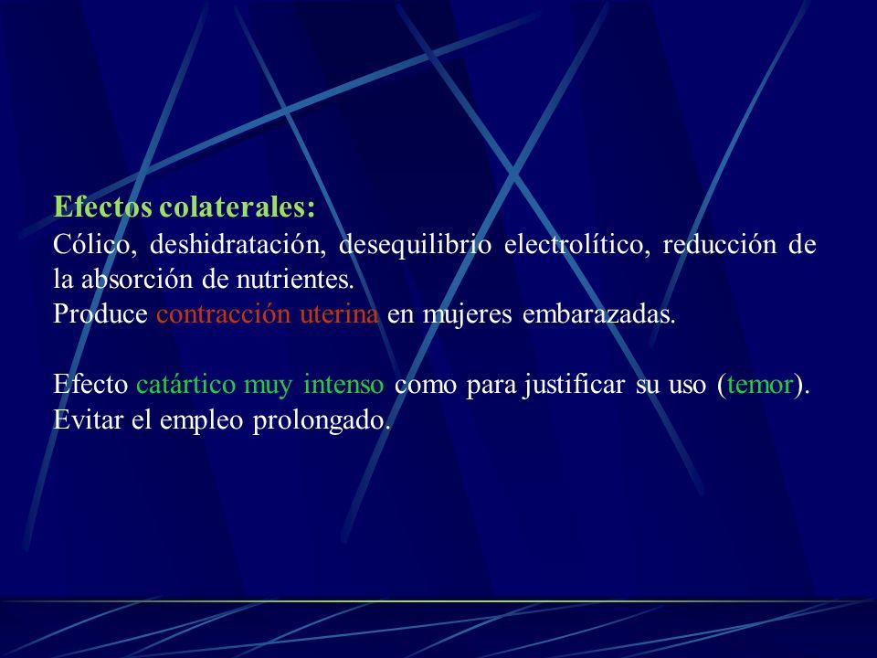 Efectos colaterales:Cólico, deshidratación, desequilibrio electrolítico, reducción de la absorción de nutrientes.