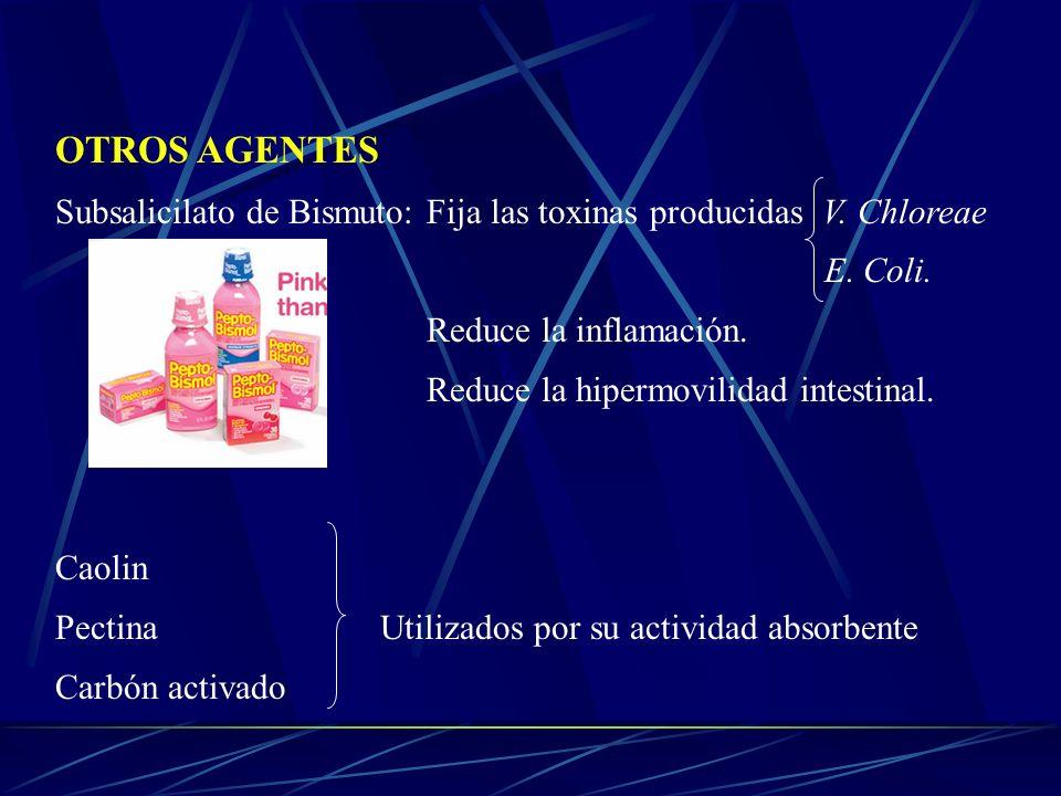 OTROS AGENTES Subsalicilato de Bismuto: Fija las toxinas producidas V. Chloreae E. Coli.