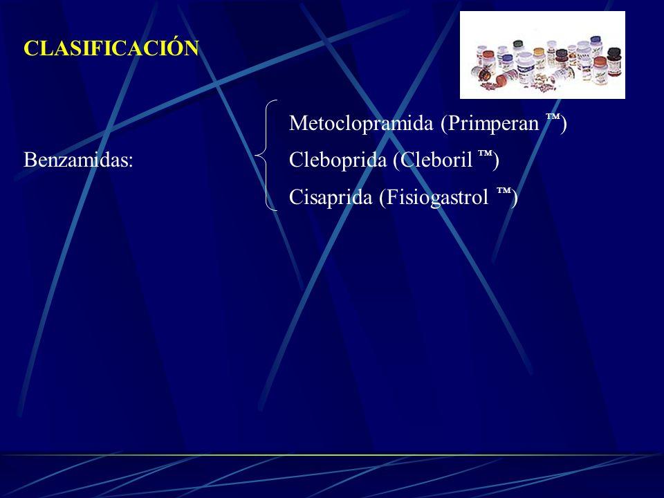 CLASIFICACIÓNMetoclopramida (Primperan ™) Benzamidas: Cleboprida (Cleboril ™) Cisaprida (Fisiogastrol ™)