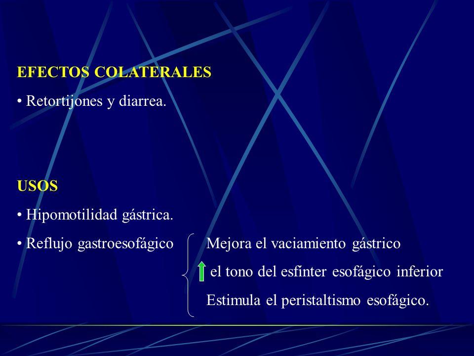 EFECTOS COLATERALESRetortijones y diarrea. USOS. Hipomotilidad gástrica. Reflujo gastroesofágico Mejora el vaciamiento gástrico.