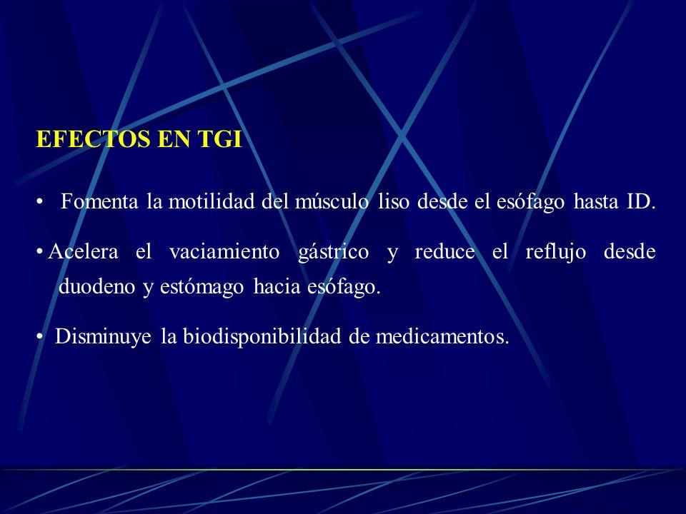 EFECTOS EN TGI Fomenta la motilidad del músculo liso desde el esófago hasta ID.