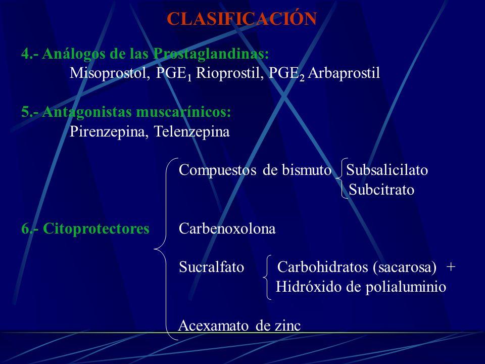CLASIFICACIÓN 4.- Análogos de las Prostaglandinas: