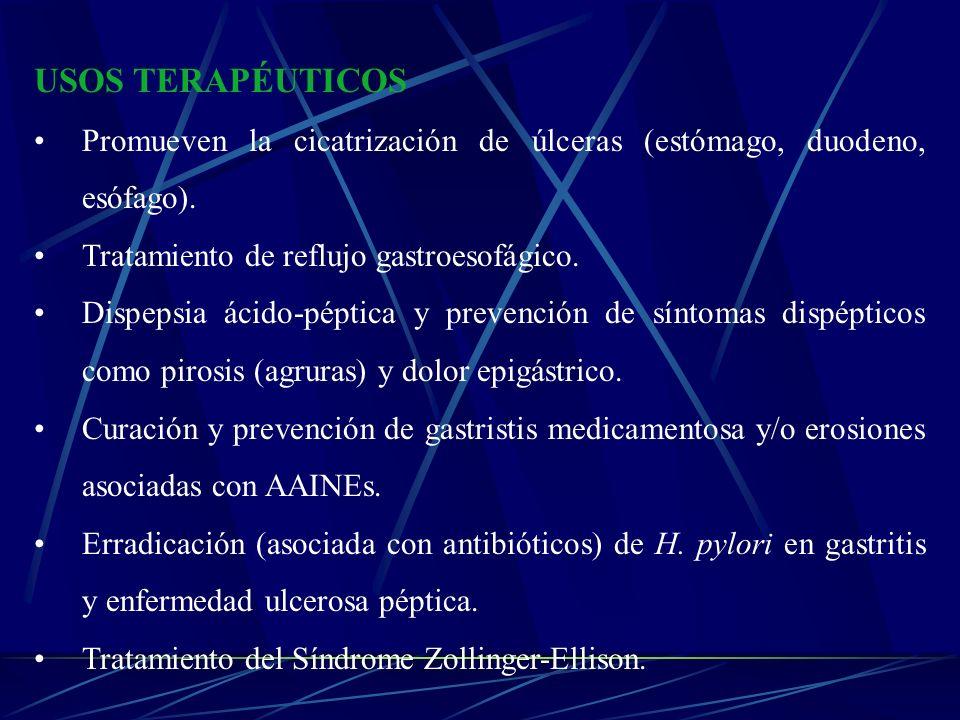 USOS TERAPÉUTICOS Promueven la cicatrización de úlceras (estómago, duodeno, esófago). Tratamiento de reflujo gastroesofágico.