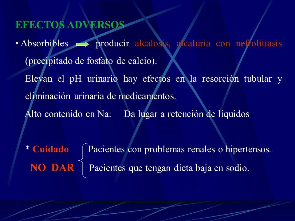 EFECTOS ADVERSOS Absorbibles producir alcalosis, alcaluria con nefrolitiasis (precipitado de fosfato de calcio).
