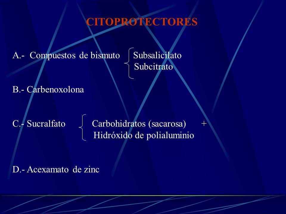 CITOPROTECTORES A.- Compuestos de bismuto Subsalicilato Subcitrato