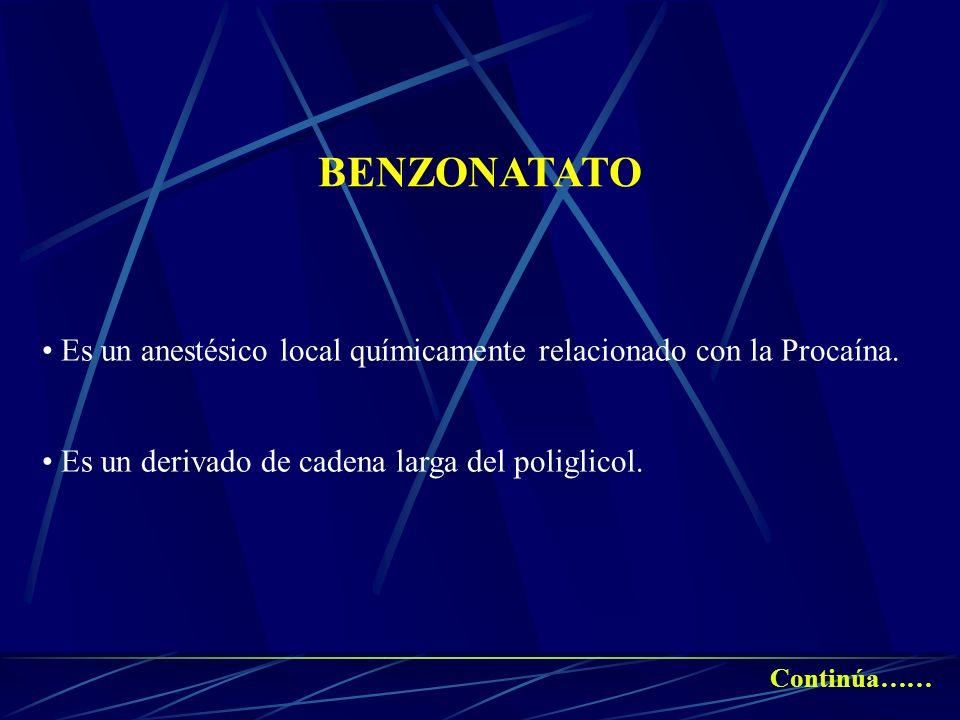 BENZONATATOEs un anestésico local químicamente relacionado con la Procaína. Es un derivado de cadena larga del poliglicol.