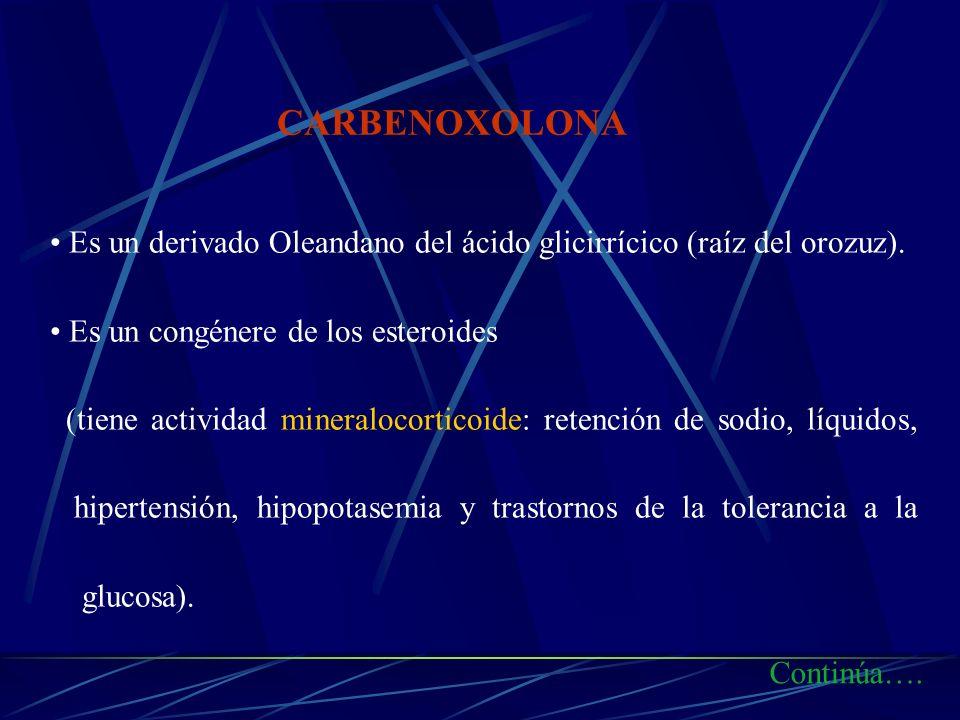 CARBENOXOLONAEs un derivado Oleandano del ácido glicirrícico (raíz del orozuz). Es un congénere de los esteroides.