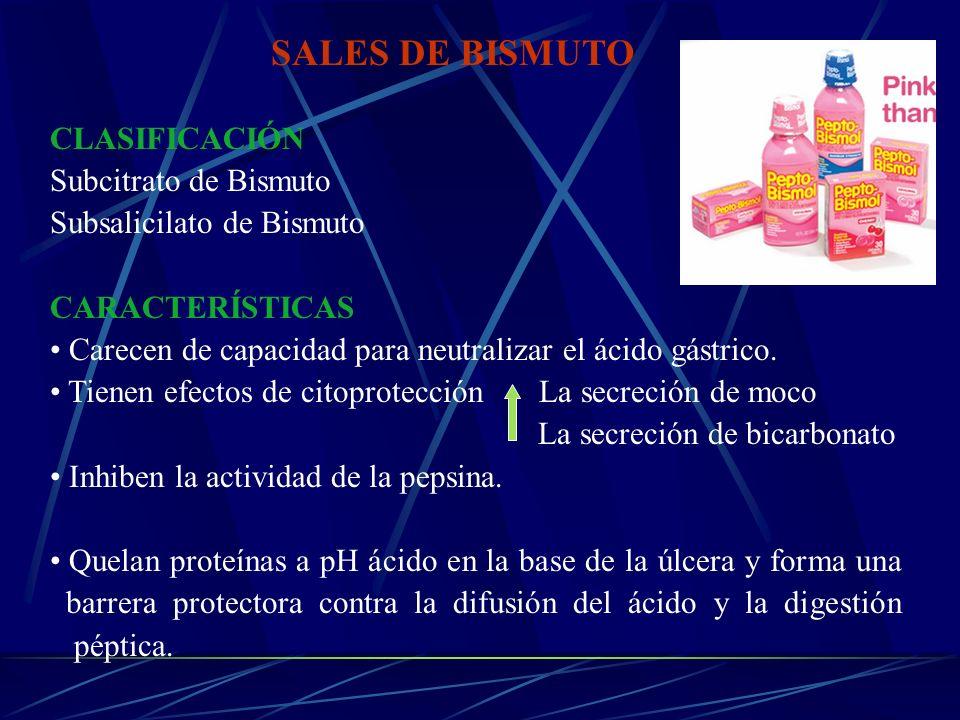 SALES DE BISMUTO CLASIFICACIÓN Subcitrato de Bismuto