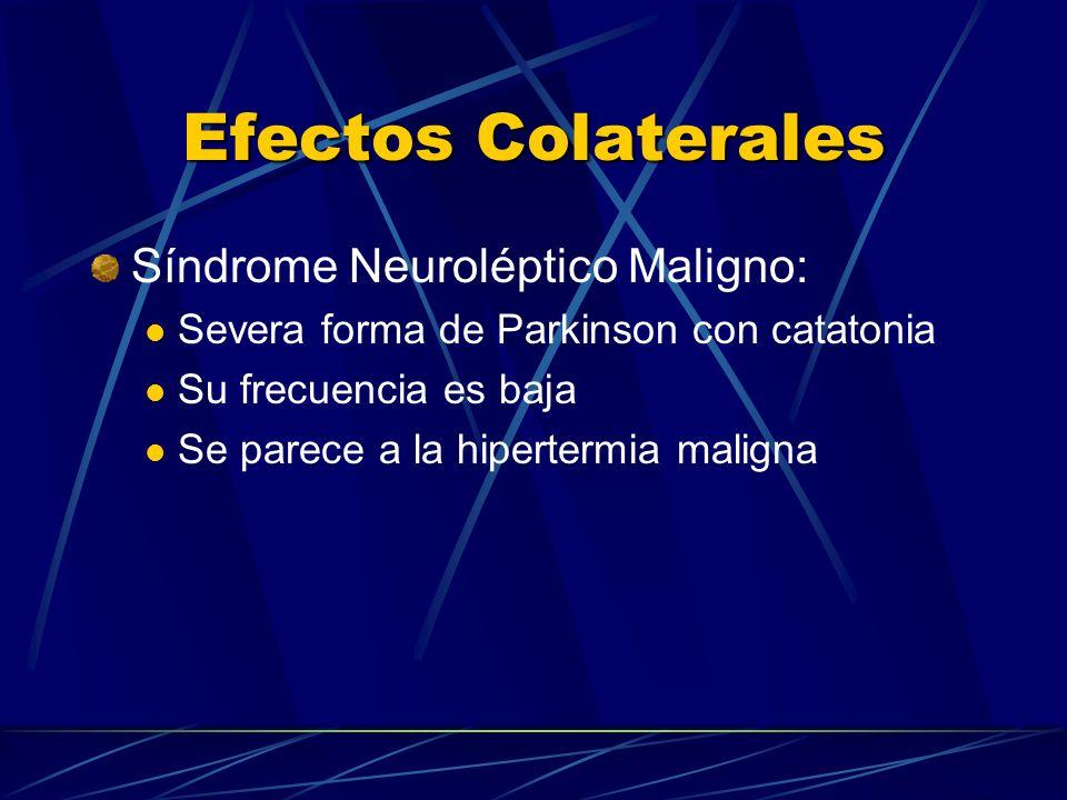 Efectos Colaterales Síndrome Neuroléptico Maligno: