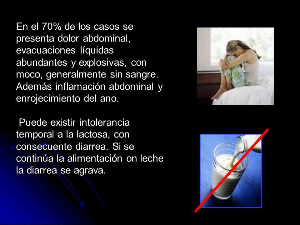 En el 70% de los casos se presenta dolor abdominal, evacuaciones líquidas abundantes y explosivas, con moco, generalmente sin sangre.