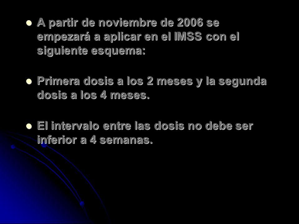 A partir de noviembre de 2006 se empezará a aplicar en el IMSS con el siguiente esquema: