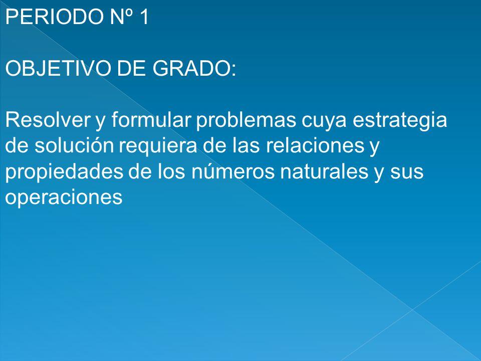 PERIODO Nº 1 OBJETIVO DE GRADO: Resolver y formular problemas cuya estrategia. de solución requiera de las relaciones y.