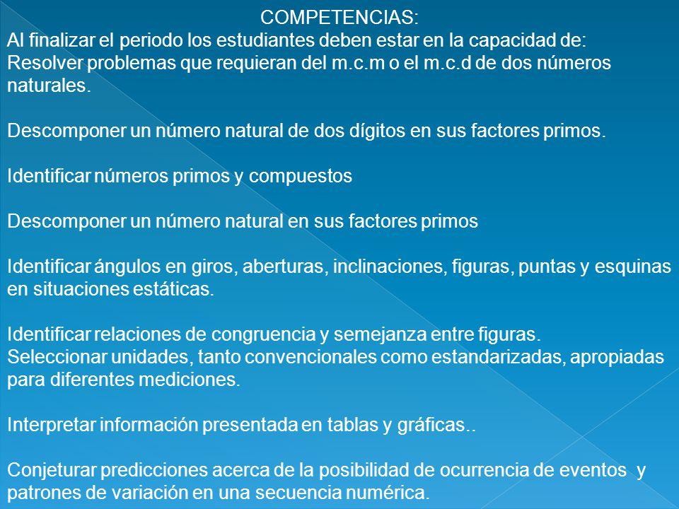 COMPETENCIAS: Al finalizar el periodo los estudiantes deben estar en la capacidad de: