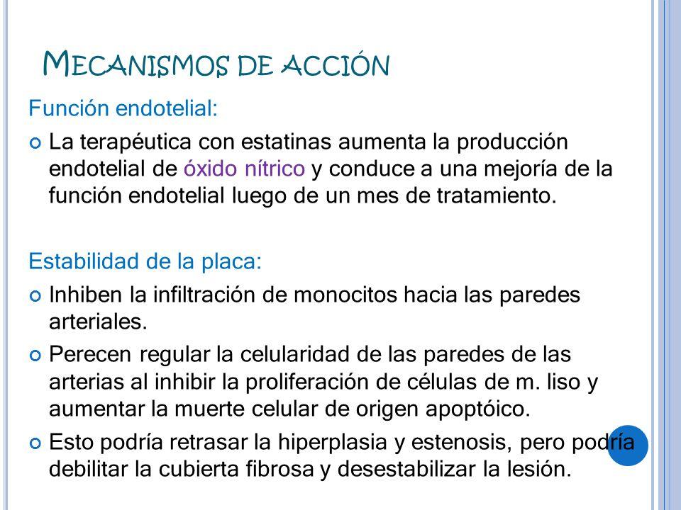 Mecanismos de acción Función endotelial: