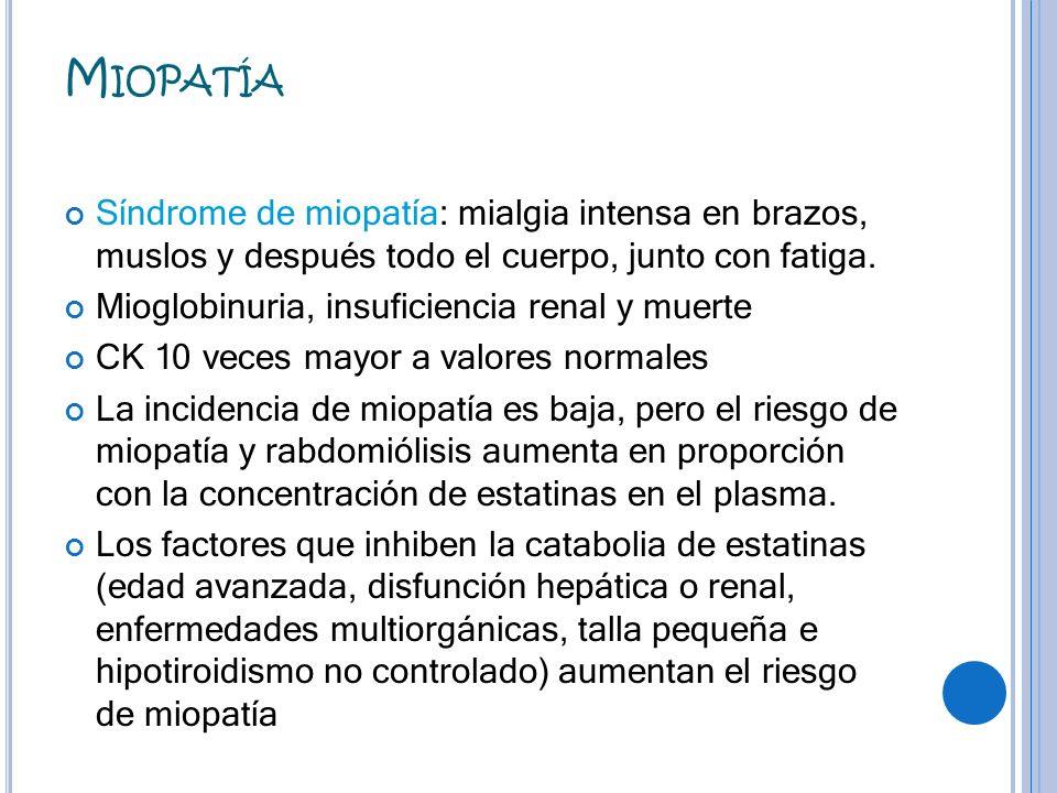 MiopatíaSíndrome de miopatía: mialgia intensa en brazos, muslos y después todo el cuerpo, junto con fatiga.