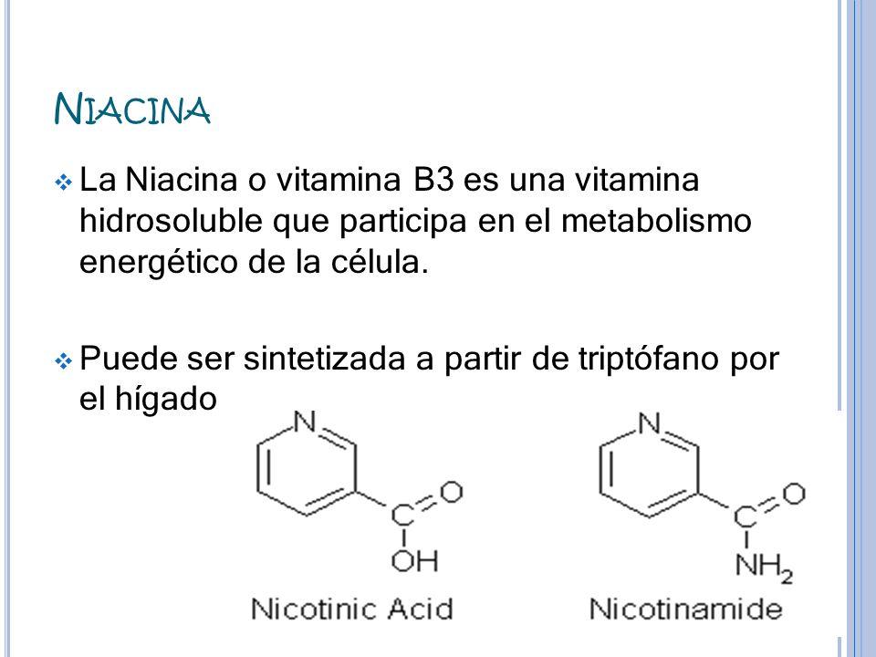 Niacina La Niacina o vitamina B3 es una vitamina hidrosoluble que participa en el metabolismo energético de la célula.