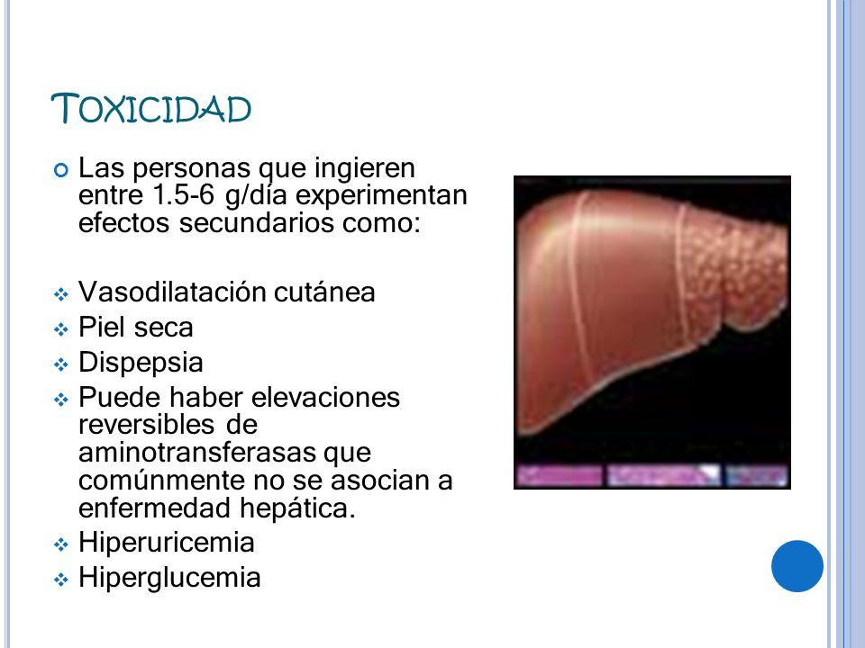 Toxicidad Las personas que ingieren entre 1.5-6 g/día experimentan efectos secundarios como: Vasodilatación cutánea.
