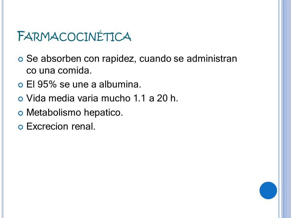 FarmacocinéticaSe absorben con rapidez, cuando se administran co una comida. El 95% se une a albumina.