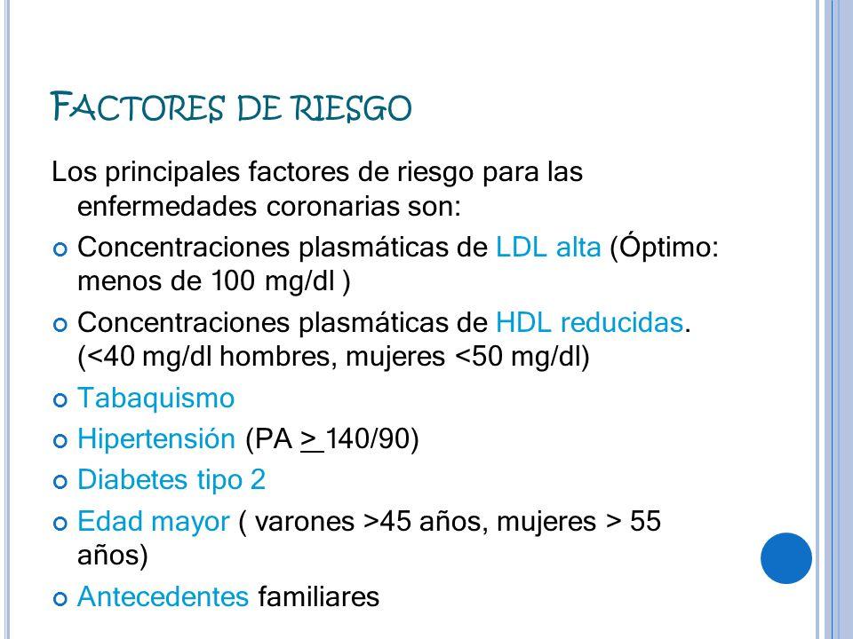 Factores de riesgo Los principales factores de riesgo para las enfermedades coronarias son: