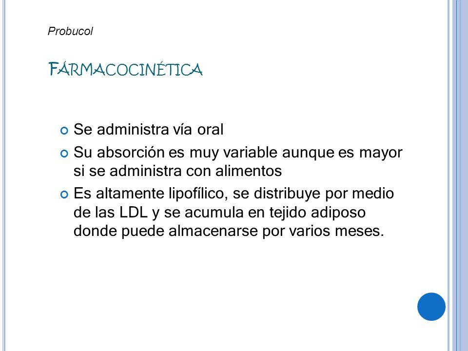 Fármacocinética Se administra vía oral