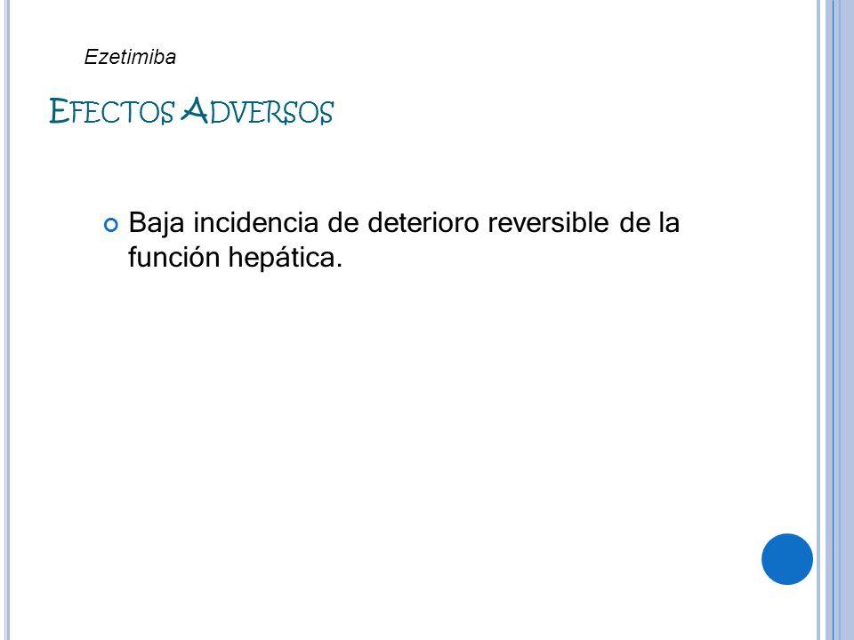 Ezetimiba Efectos Adversos Baja incidencia de deterioro reversible de la función hepática.