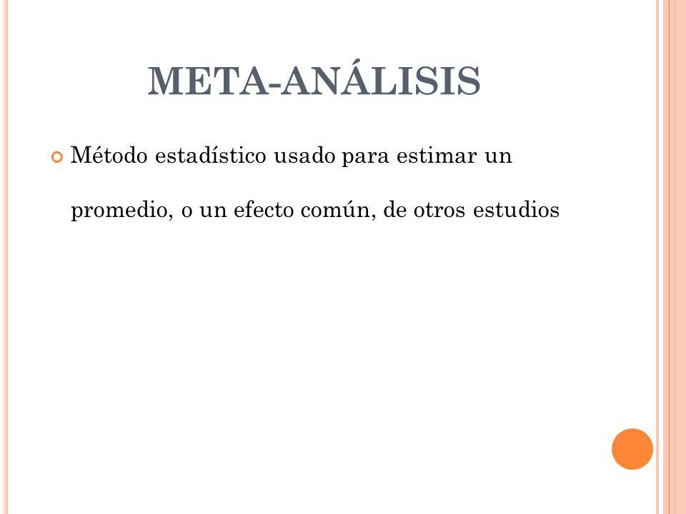 META-ANÁLISIS Método estadístico usado para estimar un promedio, o un efecto común, de otros estudios.