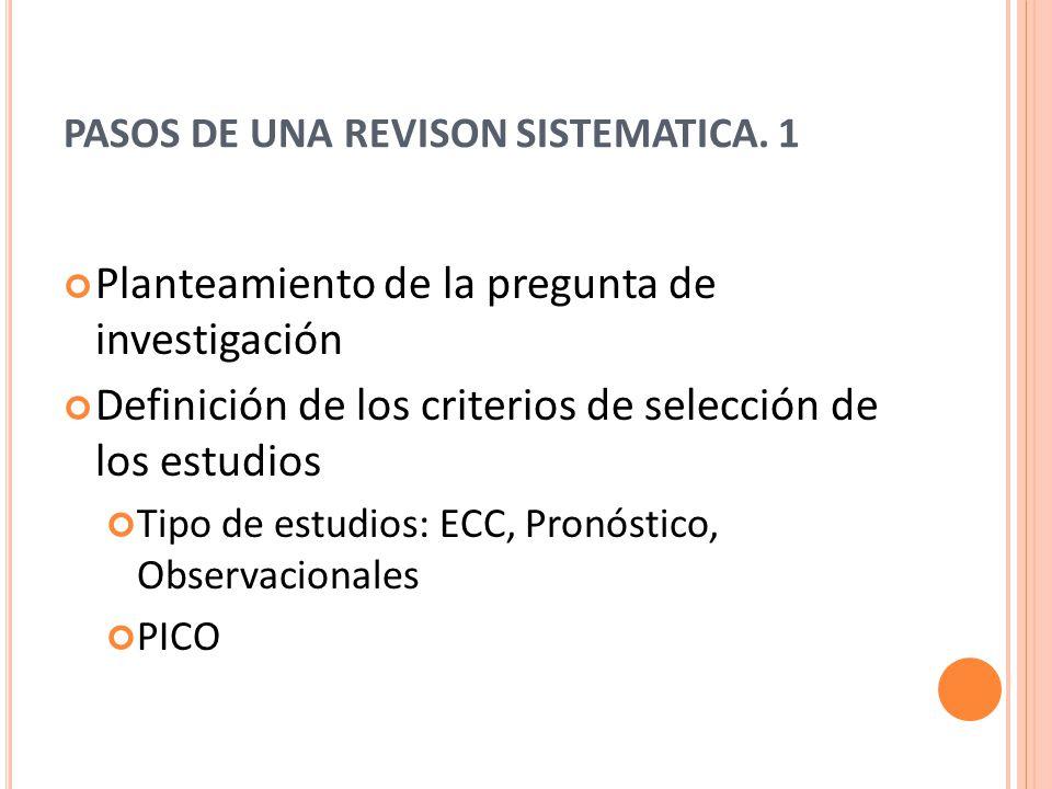 PASOS DE UNA REVISON SISTEMATICA. 1