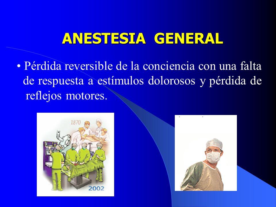 ANESTESIA GENERALPérdida reversible de la conciencia con una falta de respuesta a estímulos dolorosos y pérdida de reflejos motores.