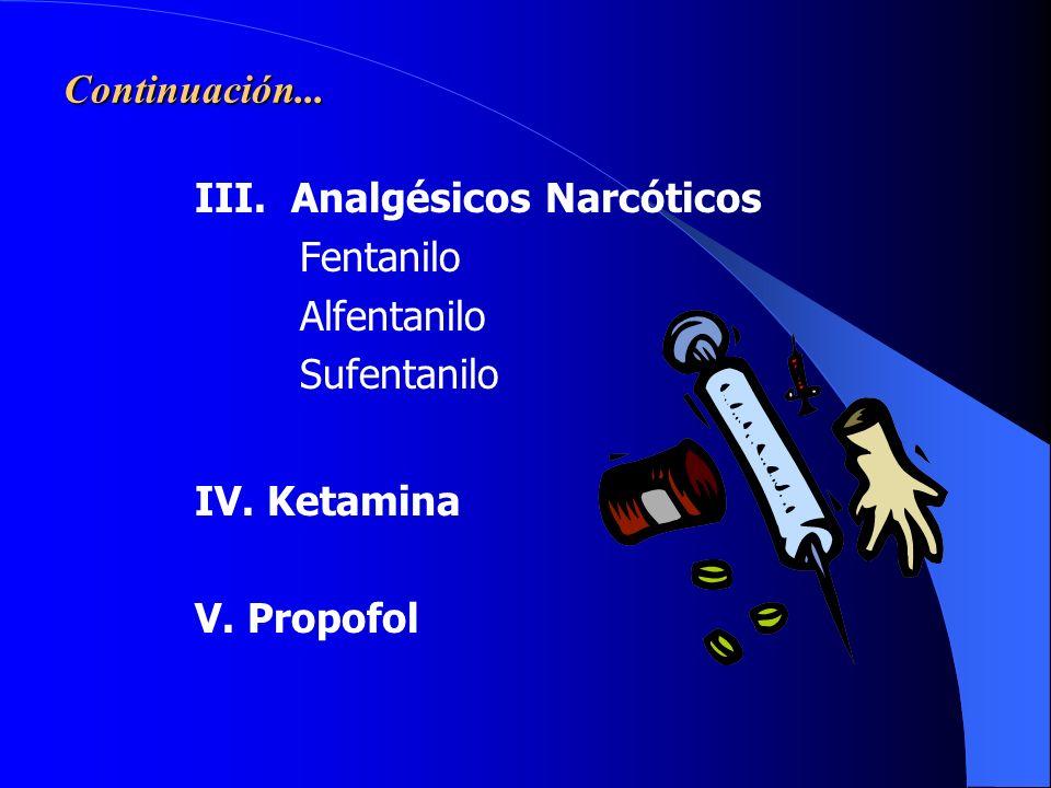 Continuación... III. Analgésicos Narcóticos. Fentanilo. Alfentanilo. Sufentanilo. IV. Ketamina.