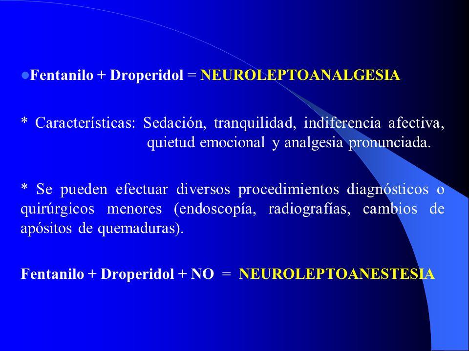 Fentanilo + Droperidol = NEUROLEPTOANALGESIA