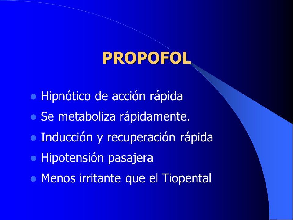 PROPOFOL Hipnótico de acción rápida Se metaboliza rápidamente.