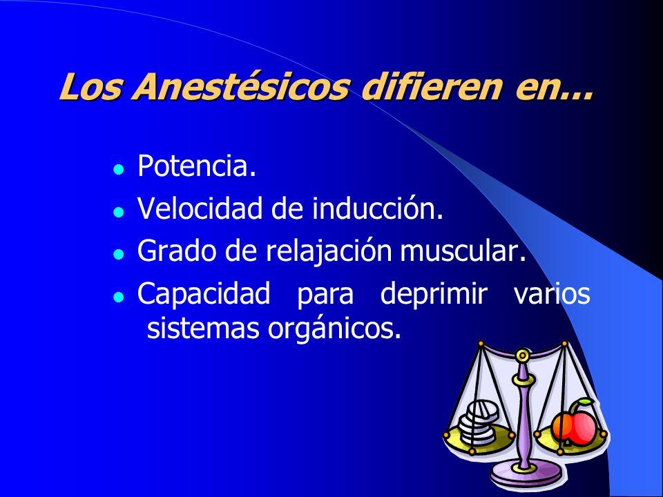 Los Anestésicos difieren en...