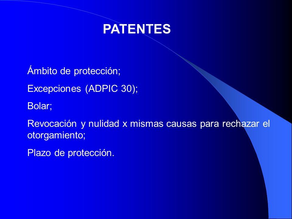 PATENTES Ámbito de protección; Excepciones (ADPIC 30); Bolar;