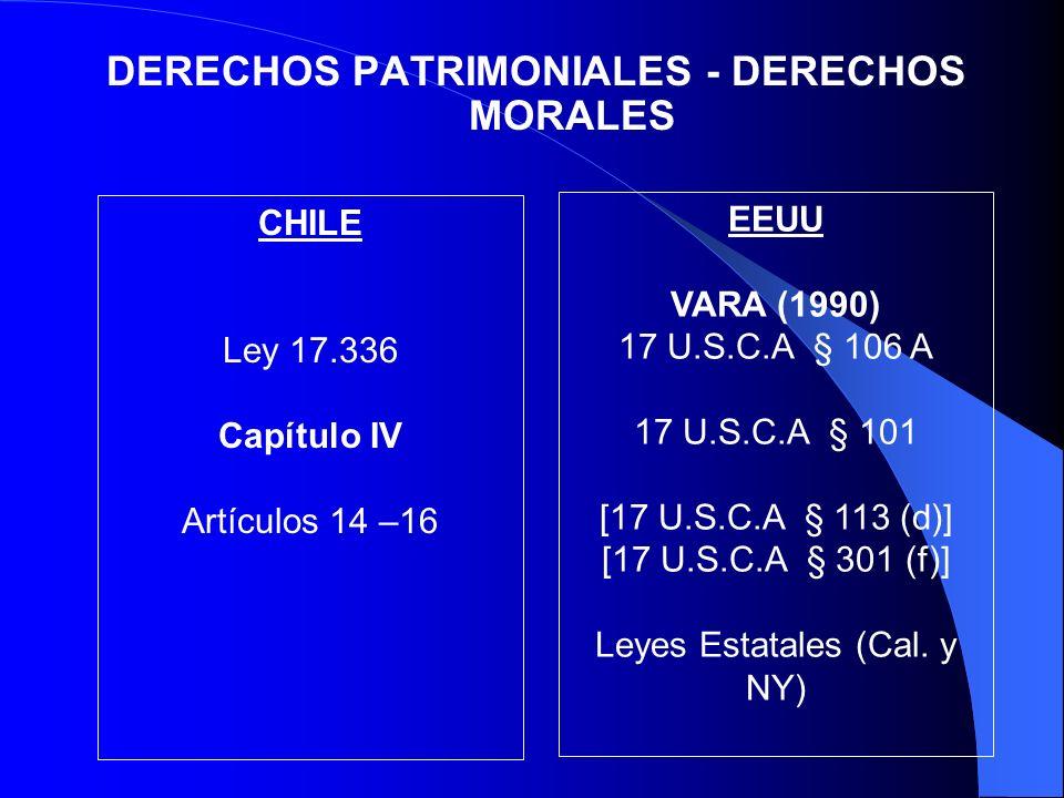 DERECHOS PATRIMONIALES - DERECHOS MORALES