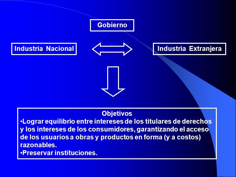 Gobierno Industria Nacional. Industria Extranjera. Objetivos.