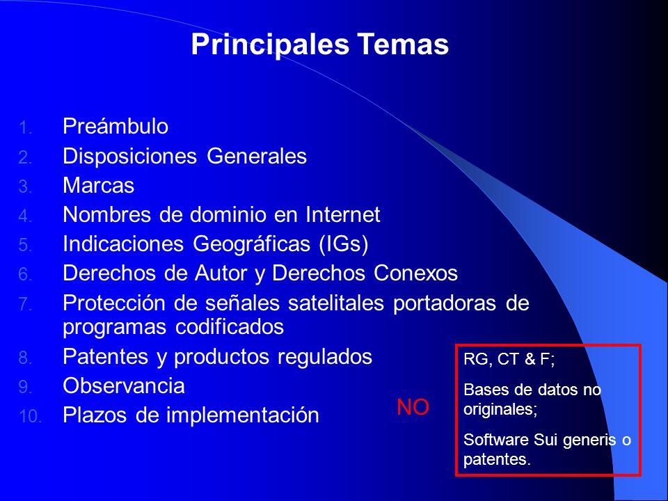 Principales Temas Preámbulo Disposiciones Generales Marcas